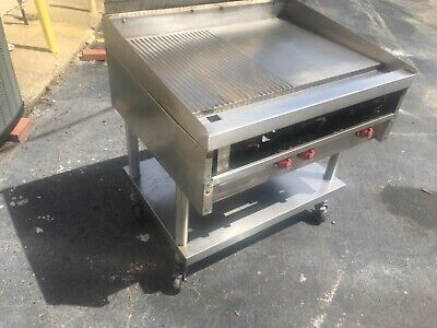 36 Stainless Steel Gas Flat Top Griddle On Commercial Caster With Shelf Under