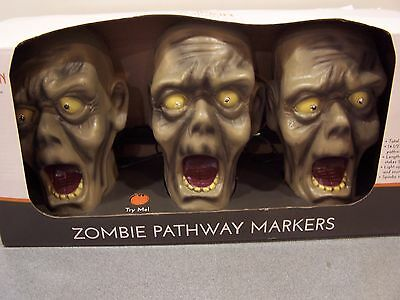 Halloween Decor Zombie Pathway Markers Eyes Light Up Creepy Sounds Motion sensor - Halloween Motion Sensor Eyes