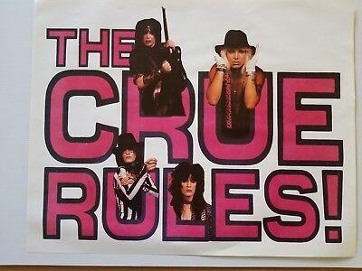 "Motley Crue poster 27.75"" x 22"" original The Crue Rules rare excellent condition"