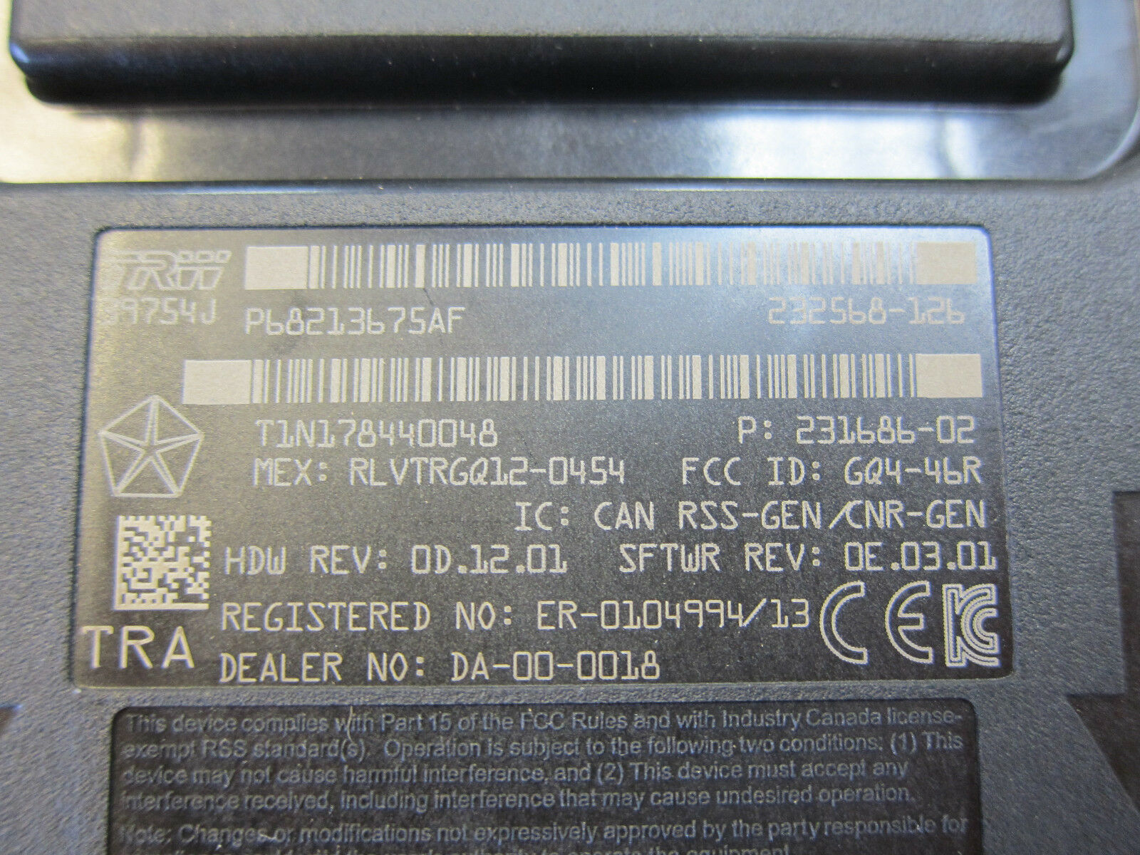 2013 2014 Dodge Ram 1500 5500 Keyless Entry Receiver