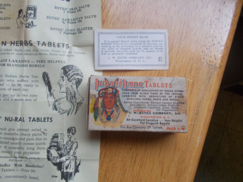 INDIAN HERB TABLETS BOX WITH FLYER L.W.ESTES CO.WASHINGTON,DC PIC OF INDIAN