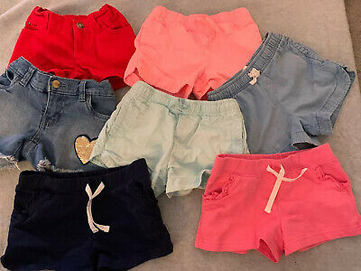 Carters Toddler Girl 5T Shorts Lot Of 7 Summer Jean Cotton