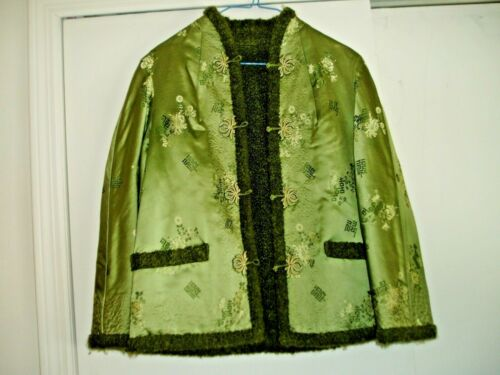 Vintage Green Sheep Wool?  Satin/Silk REVERSIBLE Asian Kimono Type JACKET