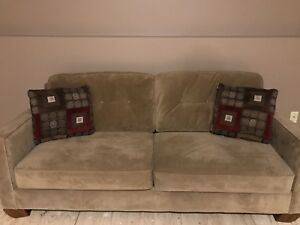Tan colored sofa with pillows - great condition! SOLD