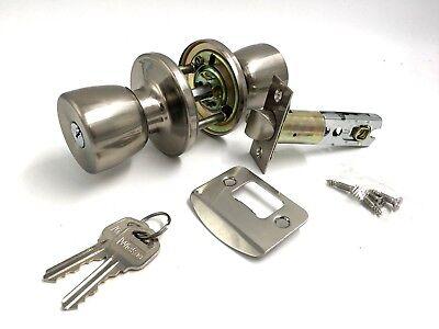 Keyed Lock-set (SATIN NICKEL KEYED LOCK ENTRANCE MORTICE DOOR KNOB SET )