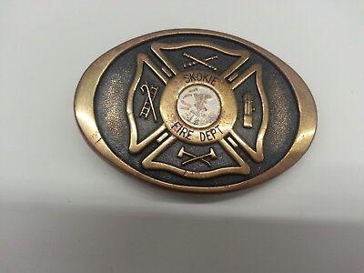 Vintage Skokie Illinois Fire Department Brass Belt Buckle