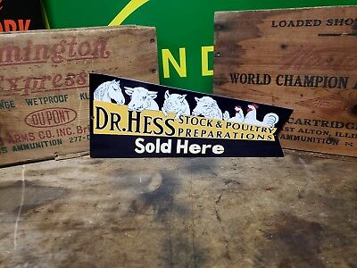 Die cut doctor Hess sign Seed feed barn  corn  Hen Tractor gas oil  Horse pig