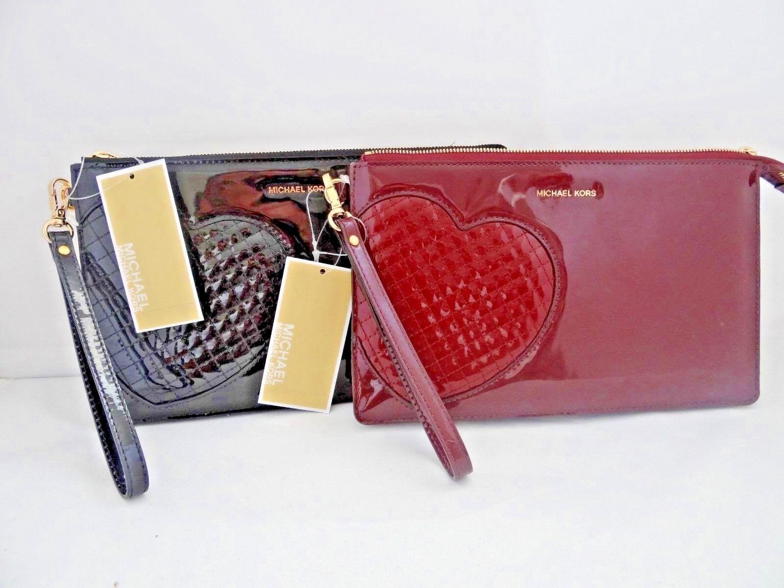 """Michael Kors - Michael Kors Daniela """"Hearts"""" Large Zip Clutch Wristlet Mirror Leather 2 Colors"""