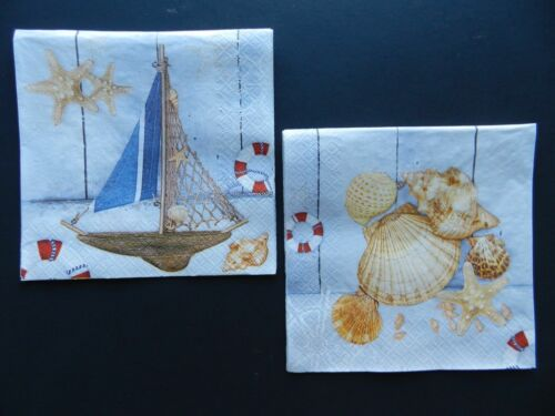 2 (Two) Single Dinner Size Paper Napkins for Decoupage Craft Boat Seashells