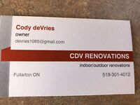 December Openings available - CDV Renovations