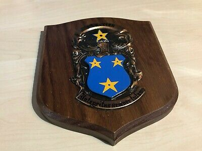 Vintage Wooden & Cooper Plaque Family Crest Shield Harries