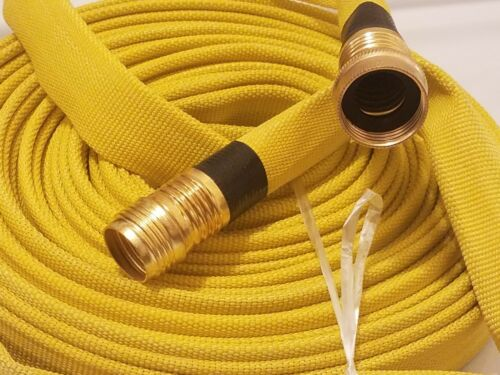 Wildland Fire Hose, Single Jacket, 3/4in.x50 ft., Yellow, 250psi, Garden Thread