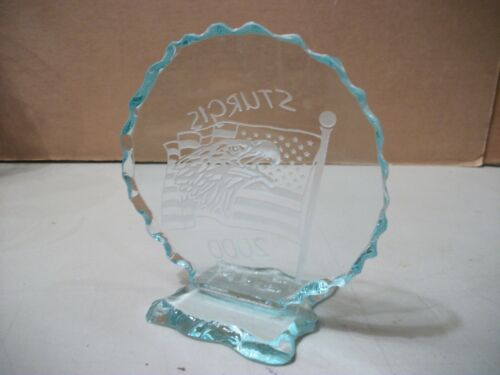 Sturgis 2000 Clear Glass Trophy Award Plaque