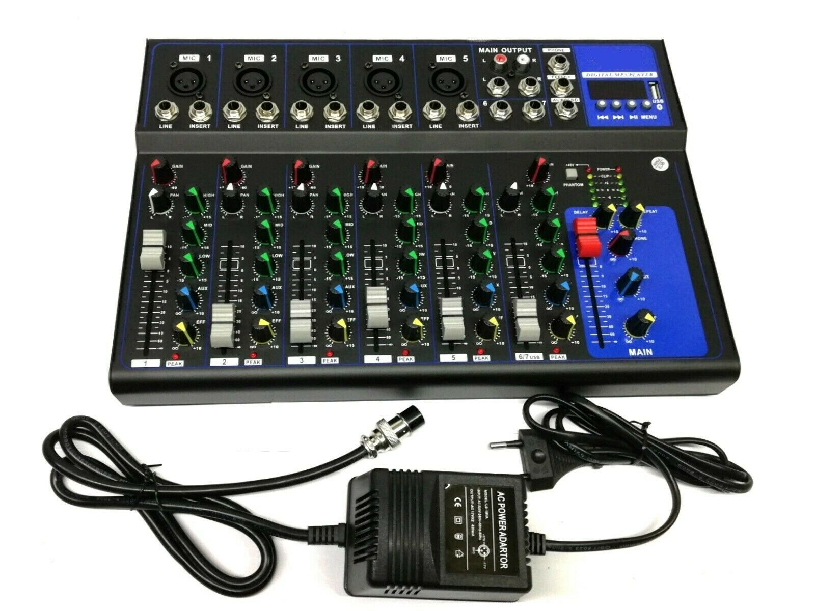 MIXER AUDIO PROFESSIONALE 7 CANALI USB CON ECHO-DELAY dj karaoke pianobar