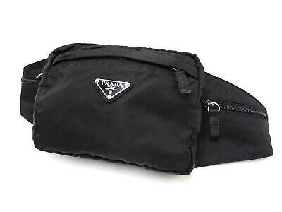 Auth PRADA Nylon Waist Belt Pouch Body Bag Bum Bag Black NERO V-0968