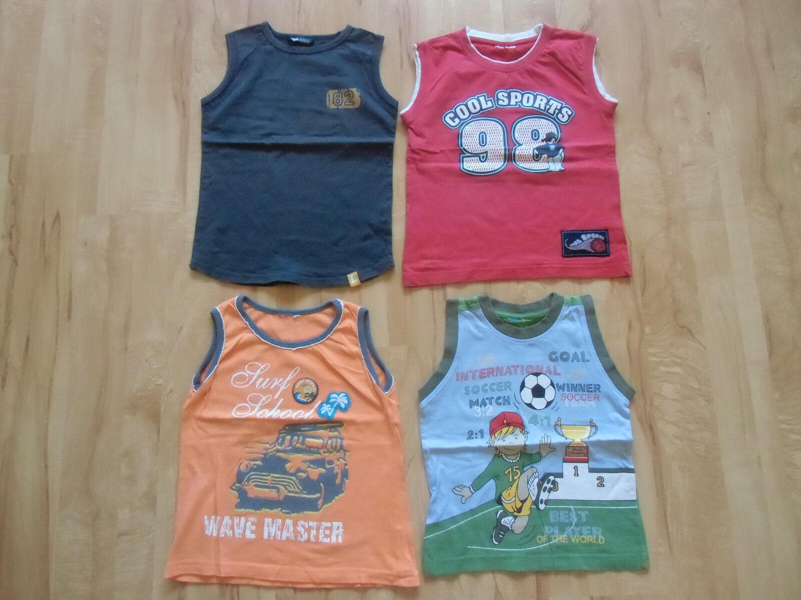 4x Kinder T-Shirt ärmellos/ Sportshirts Gr. 116  Lesen!!
