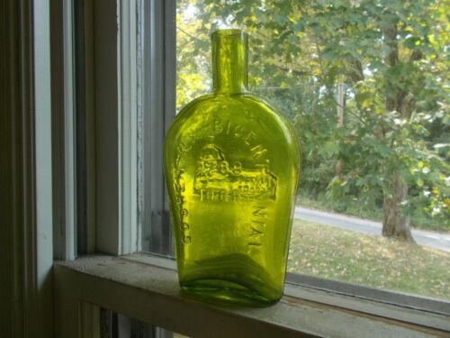 GREEN PONTILED HAND BLOWN FLASK GOSHEN NH BICENTENNIAL 1788-1988 EMB CHURCH