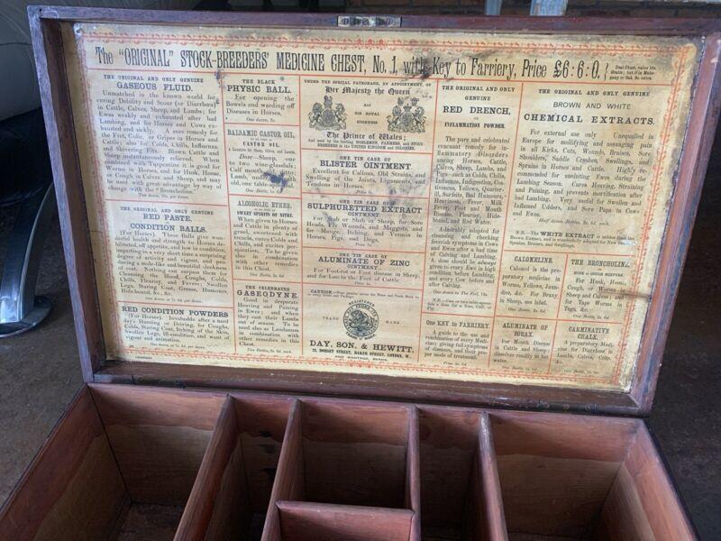 Antique Day Son & Hewitt London Wood Stock Breeders Animals Medicines Chest Box