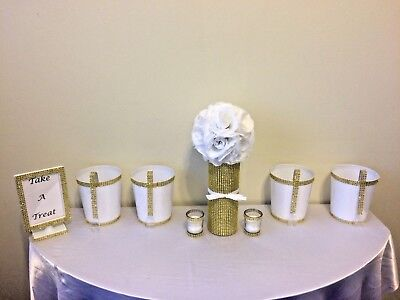 Royal Princess Prince Baby Shower Candy Buffet Set Rhinestone Vase Gold Wedding