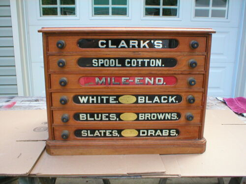 Antique Country Store Display Clark's Six Drawer Spool Cabinet, Very Nice Clean