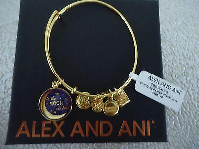 Alex And Ani Stellar Love Shiny Gold Finish Charm Bangle New W  Tag   Box