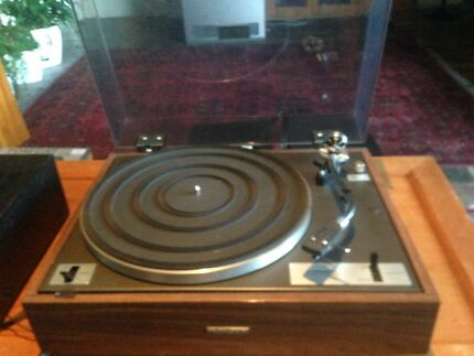 Pioneer turntable and amp with B&W speakers.