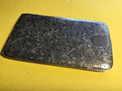 Cigarette Case, Fine Antique Sterling Silver Art Deco Gorham Floral Pattern
