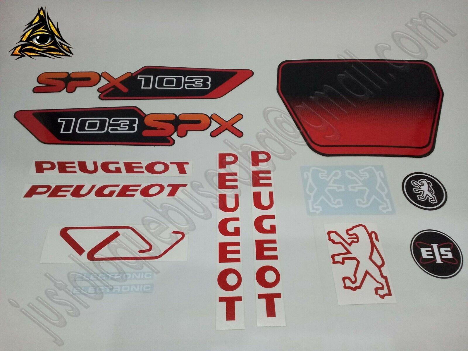 Autocollant stickers mobylette Peugeot 103 SPX PH2 Noir/Rouge