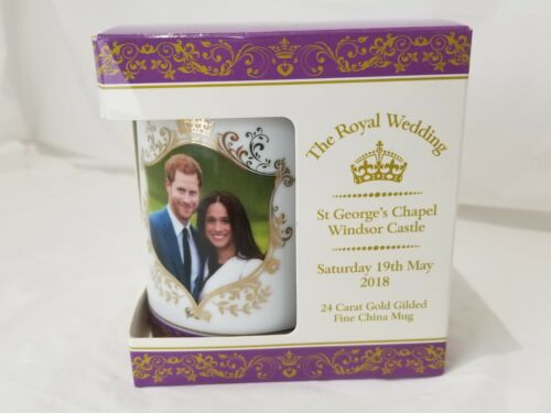 24k Gold Gilded Royal Wedding Prince Harry Meghan Markle Fine China Tea Cup Mug