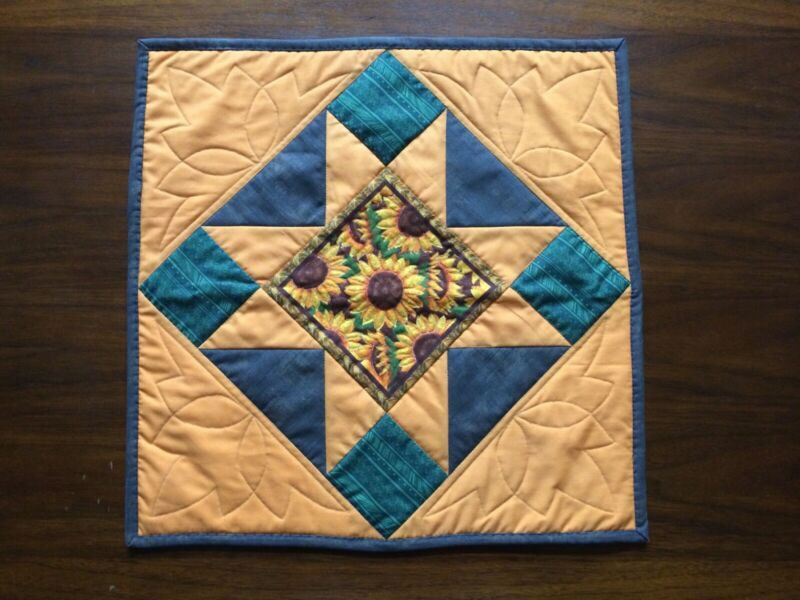 """Handmade Fall Autumn Sunflower Quilted Table Topper Runner 20"""" Square"""