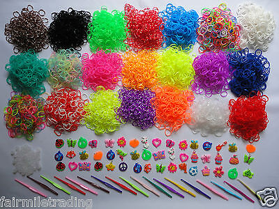 Loom Bands S Clips Rubber Charms Glow Dark UV Magic Tie-dye Beads 600 1000  ()