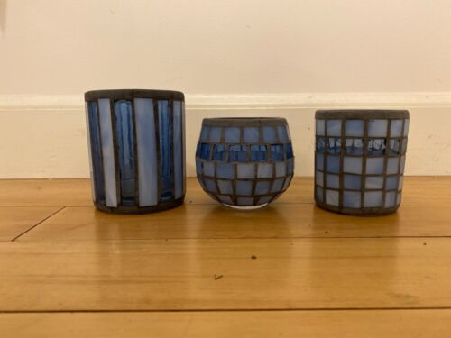 Set of 3 Vintage Stained Glass Mosaic Votive Candle Holder Cup blue