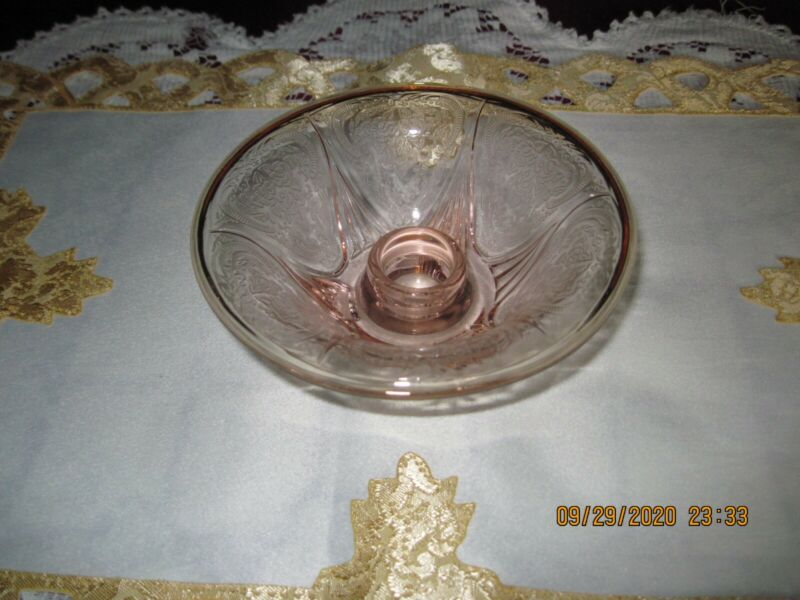 Hazel Atlas Royal Lace Pink Rolled Edge Candlestick Vintage Depression Glass