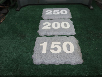 Standard Golf Plastic Yardage Markers  Box of 3 signs  NEW  Granite Stone Look