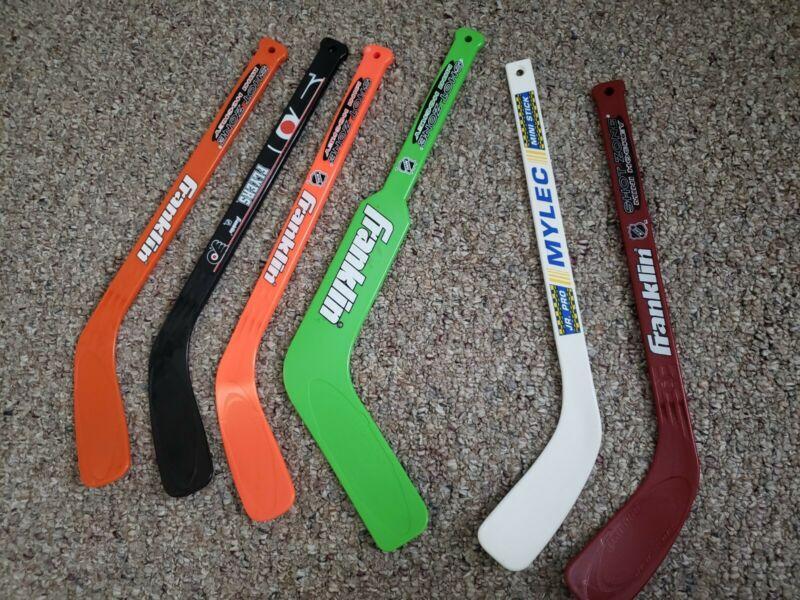 Lot of 6 Hot Shot Hockey Sticks Mini Franklin Mylec