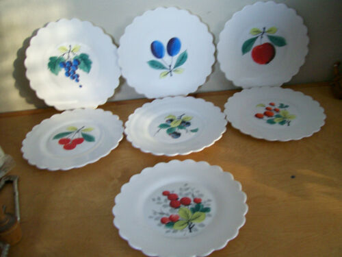 Vtg 7 Milk Glass Hand Painted Decorative Scalloped Edge Fruit Plates 8 1/2""