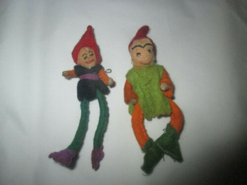 lot 2 vintage handmade elf pins felt elves folk art christmas scary evil gnomes