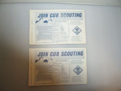 2 Vintage Cub Scout Application Forms In Triplicate W/Carbon 1981 Unused