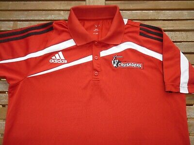 CRUSADERS NEW ZEALAND adidas RUGBY FOOTBALL UNION POLO SHIRT TOP MEDIUM