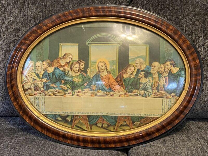Antique Victorian Beauty Bubble Glass Frame Oval Last Supper  Original