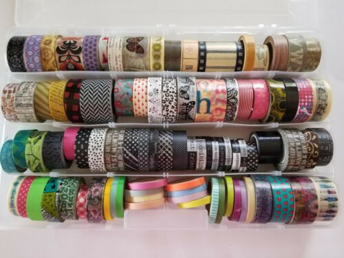 Lot Of 86 crafters Washi Decorative Tape rolls New and Used Mixed w/case