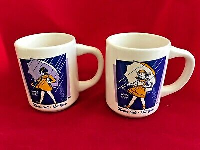Vintage Set of 2 Umbrella Girl Morton Salt Promo Coffee Cups Mugs