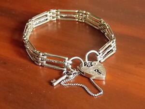 '925' Heart Lock & Key Gate Bracelet Armidale Armidale City Preview