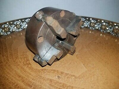 Independent Four Jaw Lathe Chuck 80mm Diameter 2 Depth -thru Hole Plain Back