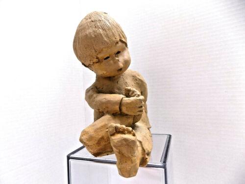 Little Boy & Feet STUDIO ART SCULPTURE CLAY 1970s SIGNED DAVID GROSSMAN USA