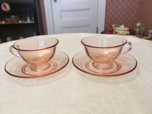 Fostoria Farfax Pink Depression Cup and Saucer - Set of 2