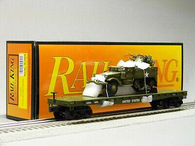 MTH RAILKING FLATCAR w/HALF TRACK M16 SCOUT O GAUGE army military 30-7097B NEW