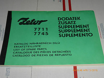 Nos Original Oem Zetor Parts Manual 7711 7745