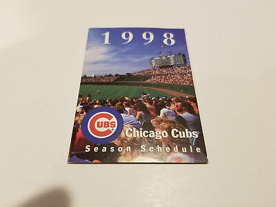 Chicago Cubs 1998 Mlb Baseball Pocket Schedule   Cubs Mastercard