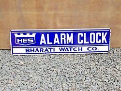 1940s Vintage Rare Original Bharti Watch Co. HES Alarm Clock Enamel Sign Board